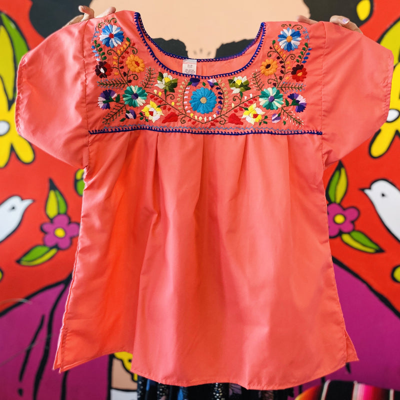 Women's Embroidered Blouse - Peach