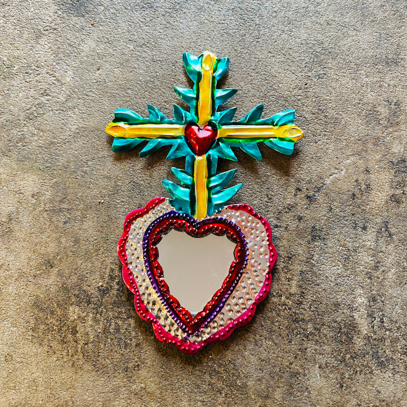 Tin Ornament- Mirrored Heart with Large Cross
