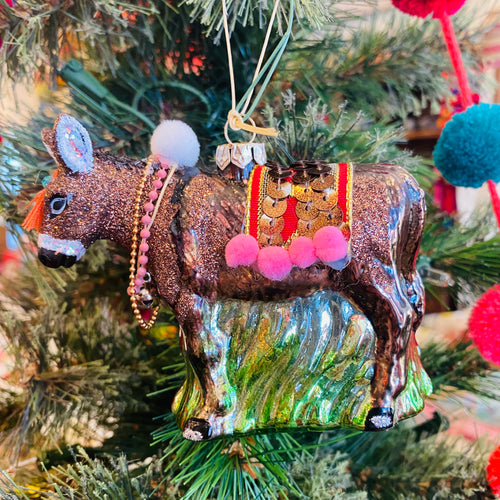Glass Donkey Ornament