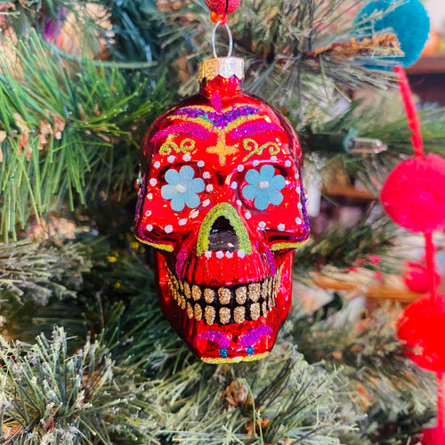 Glass Sugar Skull Ornament-Small