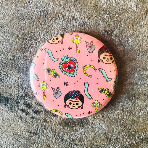 Pink Round Pocket Mirror with Milagros and Frida Kahlo icons