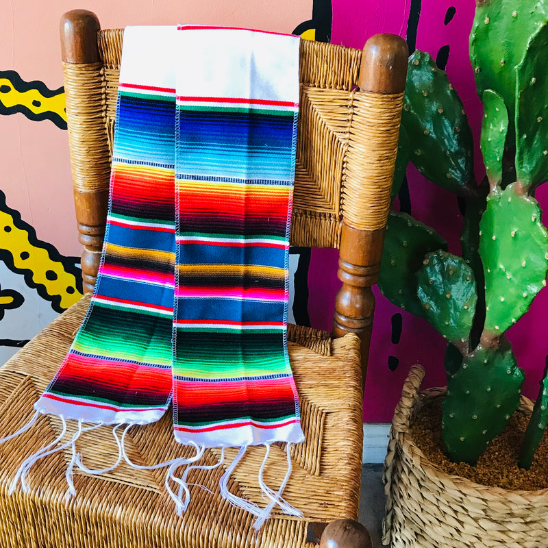 White serape stole or scarf to wear for a graduation ceremony