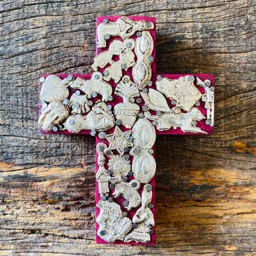 Wood Milagro Cross #1 - Dark Pink