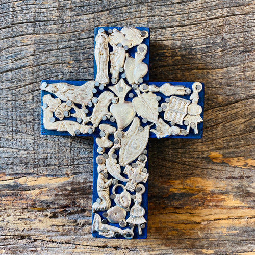 Wood Milagro Cross #1 - Blue