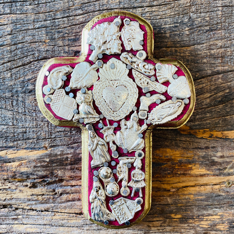 Wood Milagro Cross #2 - Dark Pink