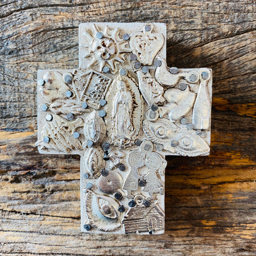 Wood Milagro Cross #7 - Stone
