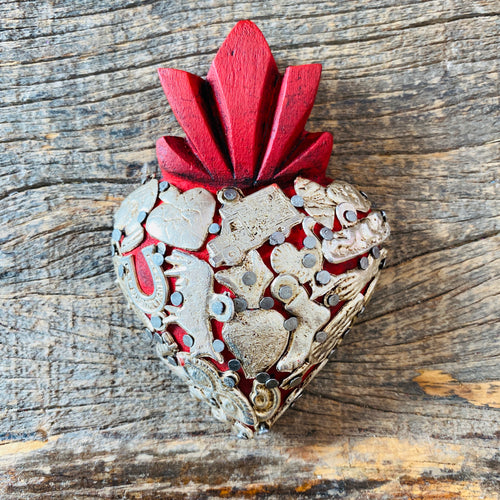 Wood Milagro Heart - Red