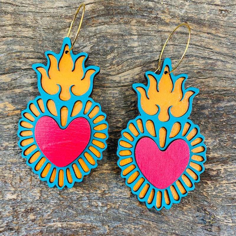 Sacred Heart Wood Earrings