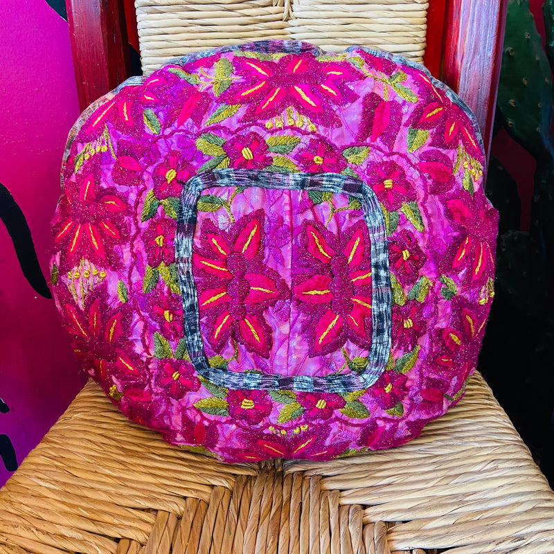 Floral Embroidered Pillow Cover - Hot Pink/Fuschia