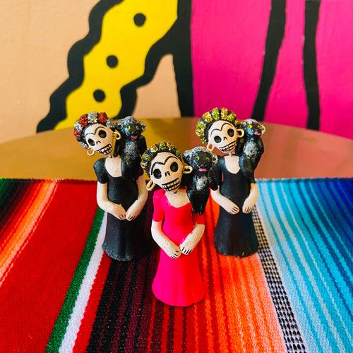 Calavera Figurine - Frida and Monkey