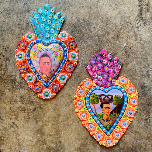 Painted Frida Tin Heart