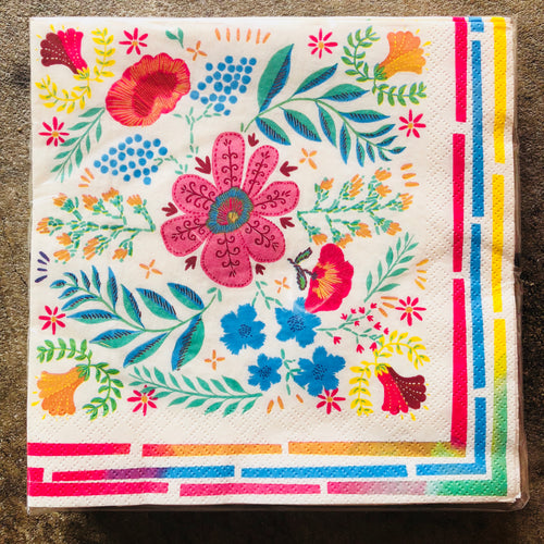 Disposable and colorful floral paper napkins for your next fiesta