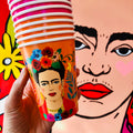 Pink and orange floral Frida Kahlo paper cups