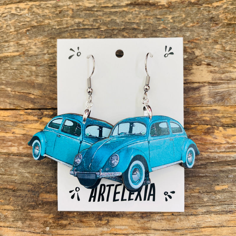 Volkswagon Bug Wood Earrings