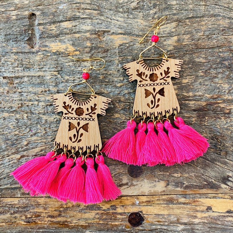 Wood Dress Earrings - Pink