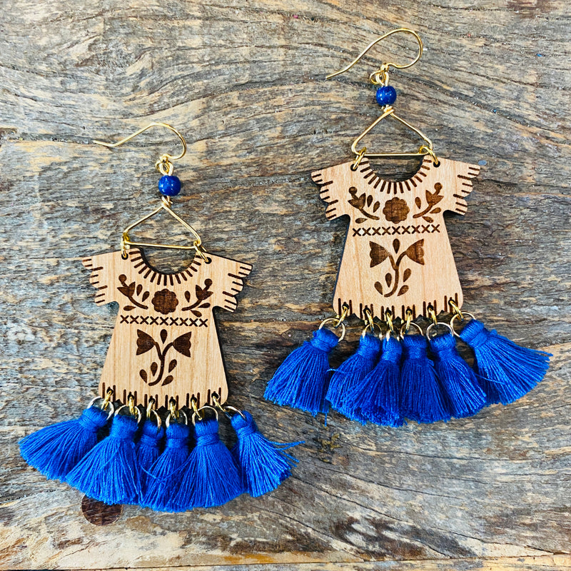 Wood Dress Earrings - Blue
