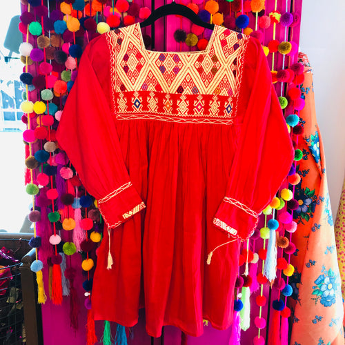 Women's traditional Mexican embroidered long sleeve blouse in red