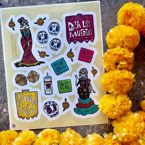 Day of the Dead vinyl sticker sheet with calaveras, paper picador, pan de muerto and sugar skull stickers.