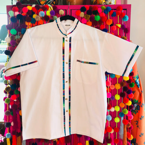 Traditional Mexican men's fiesta button down shirt with serape detailing in white color