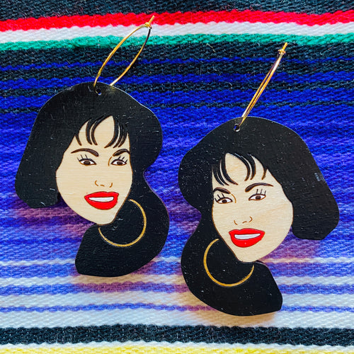 Selena Wood Hoop Earrings