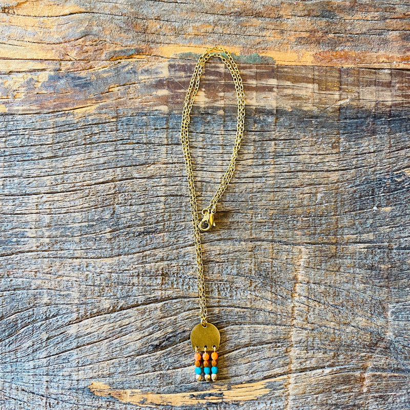 Small Brass and Bead Necklace