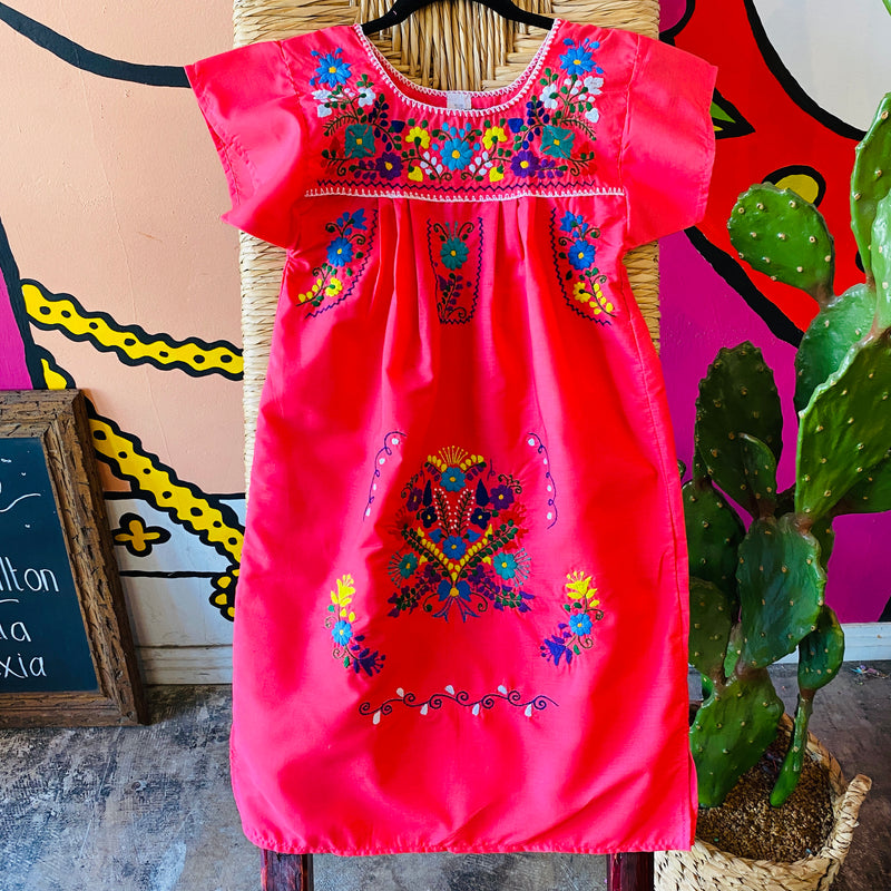 Girl's Embroidered Dress - Dark Pink