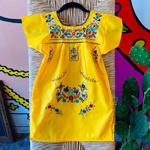 Girl's Embroidered Dress - Yellow