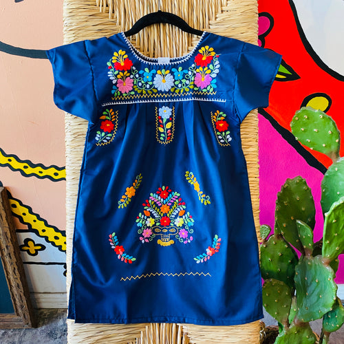 Girl's Embroidered Dress - Navy Blue