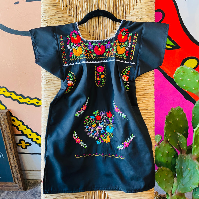 Girl's Embroidered Dress - Black