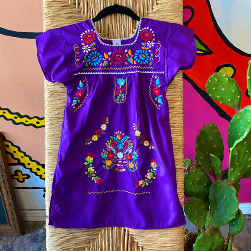 Girl's Embroidered Dress - Purple