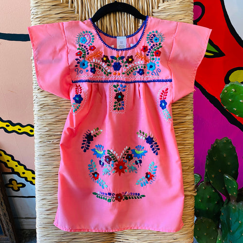 Girl's Embroidered Dress - Pink