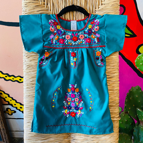 Girl's Embroidered Dress - Turquoise