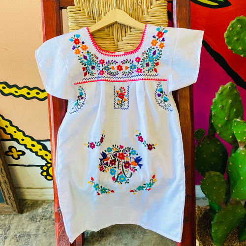 Girl's Embroidered Dress - White