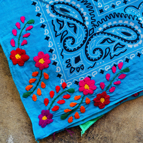 Flower Embroidered Bandana