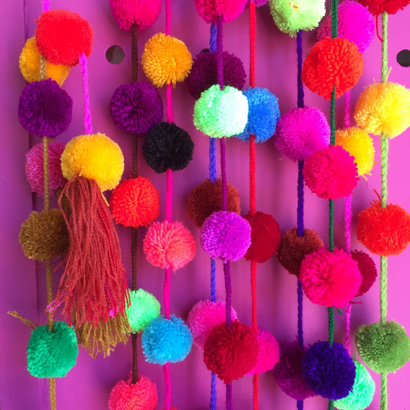 Colorful Mexican Pom Pom Garland Holiday Ornaments — Artelexia Online Shop of Mexican Gifts, Homewares, and more ...