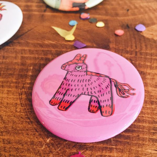 Large pink donkey piñata pin-back button made by Artelexia