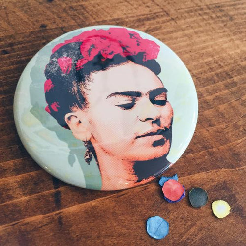 Large Frida Kahlo with floral crown pin-back button made by Artelexia