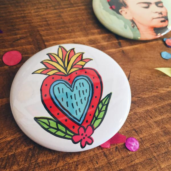 Large white sacred heart  piñata pin-back button made by Artelexia