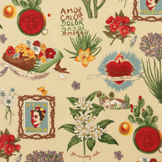 Alexander Henry Fabrics in Viva Frida pattern. This pattern has different Mexican motives such as botanicals, sacred hearts and pictures of Frida Kahlo against a parchment background