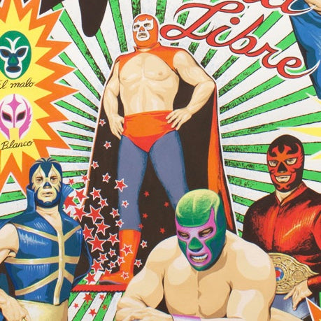 Alexander Henry Fabrics in Super Lucha Libre pattern with various Mexican luchadors