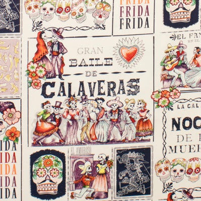 Alexander Henry Fabrics with the Baile de Calaveras pattern filled with dancing skeletons and sugar skulls