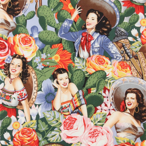 Alexander Henry Fabrics in Las Señoritas pattern with Mexican vintage pin-up girls surrounded by cactus and flowers