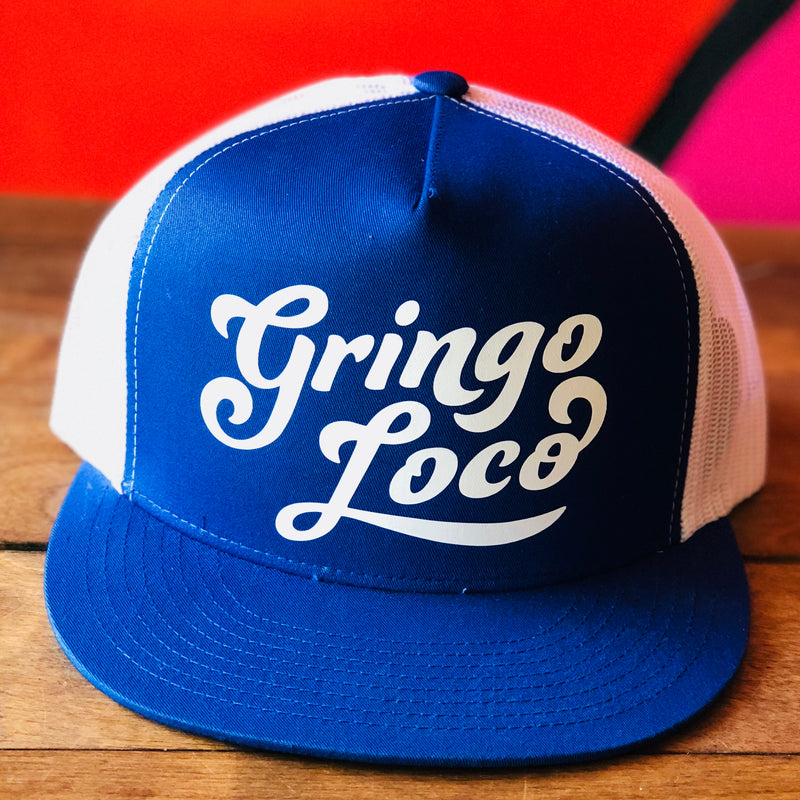 White and blue Gringo Loco trucker style hat
