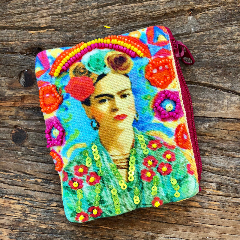 Colorful beaded Frida Kahlo zip pouch for your change or little essentials!
