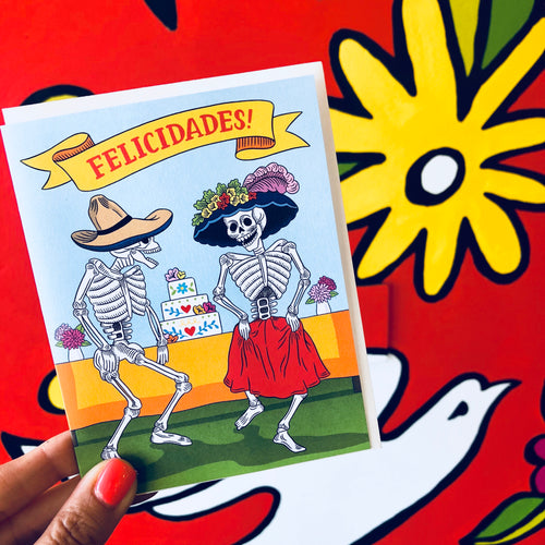 Felicidades Dancing Skeletons Wedding Card