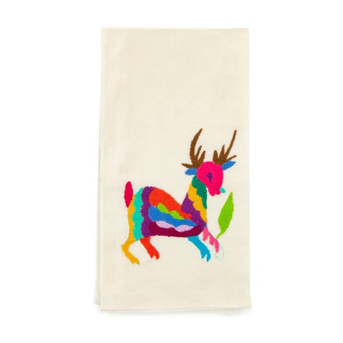 Otomi Deer Embroidered Tea Towel