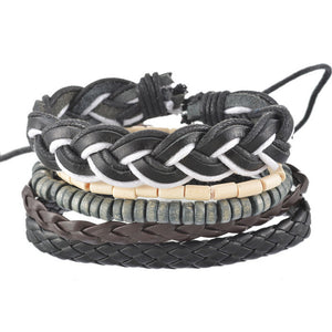 Braided Adjustable Leather Stacked Bracelet - Flexy Store
