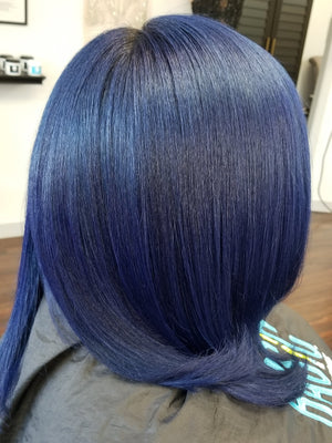 Blue Silk Pressed hair