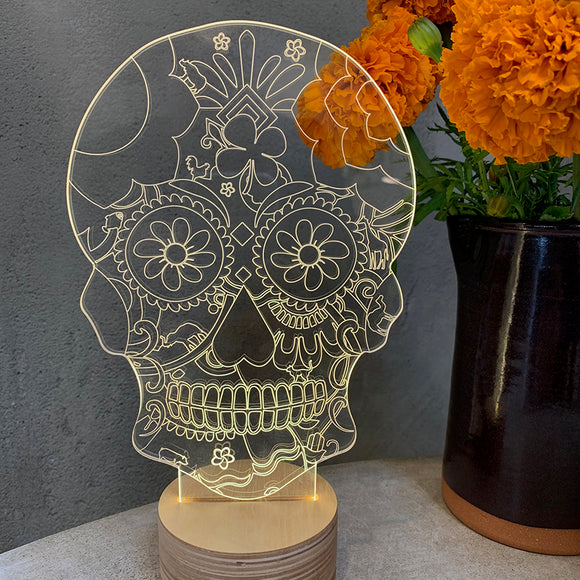 Home: Floral Skull LED Table Lamp