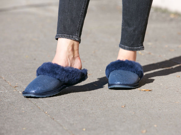 f0fb9eef88 Emu Jolie Metallic Slip-On Slipper in Midnight Blue – Gild Shoes
